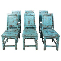 Set of Eight Swedish Blue Painted Chairs