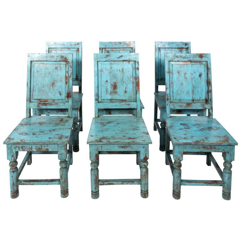 Set of Eight Swedish Blue Painted Chairs For Sale