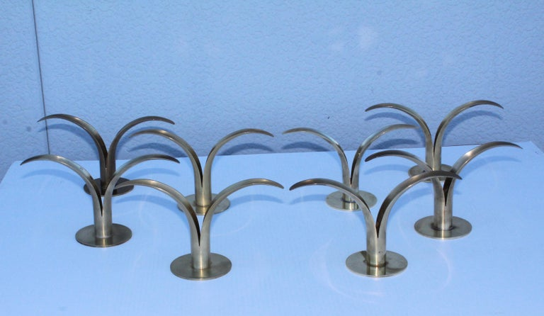 Mid-Century Modern Set of Eight Swedish Brass Candleholders by Ystad Metall For Sale