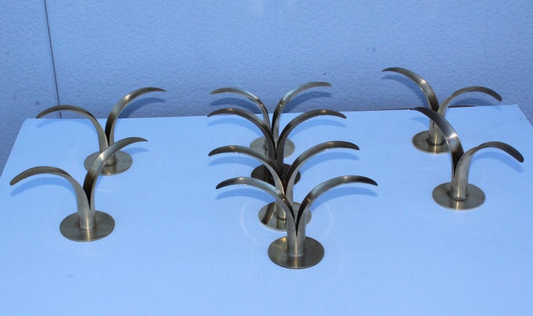 Set of Eight Swedish Brass Candleholders by Ystad Metall For Sale 1