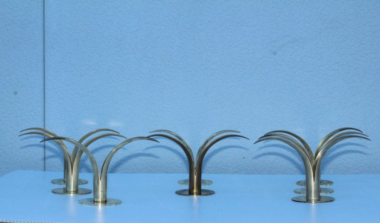 Set of Eight Swedish Brass Candleholders by Ystad Metall For Sale 2