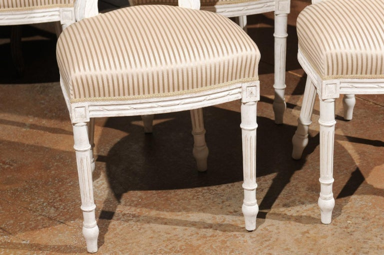 Set of Eight Swedish Gustavian Style 19th Century Dining Chairs with Oval Backs 5