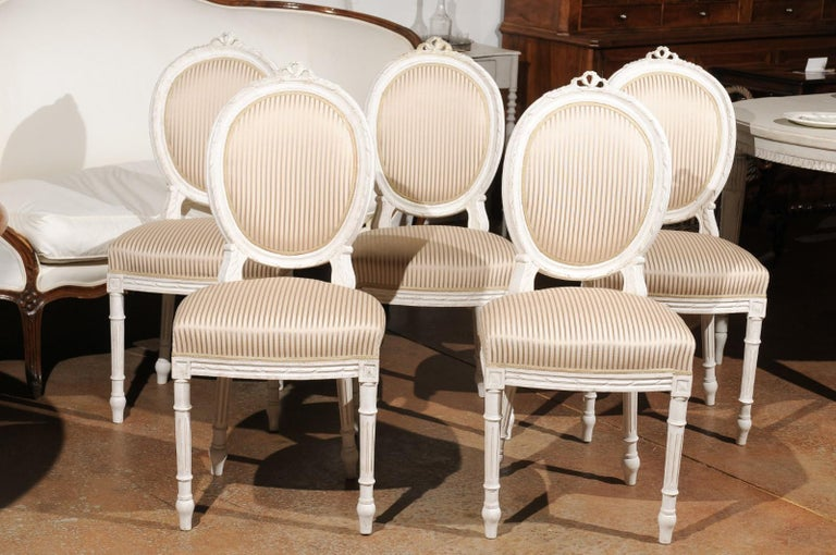 Set of Eight Swedish Gustavian Style 19th Century Dining Chairs with Oval Backs 6