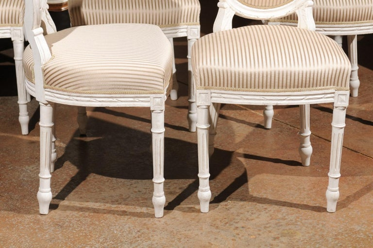 Set of Eight Swedish Gustavian Style 19th Century Dining Chairs with Oval Backs In Good Condition In Atlanta, GA