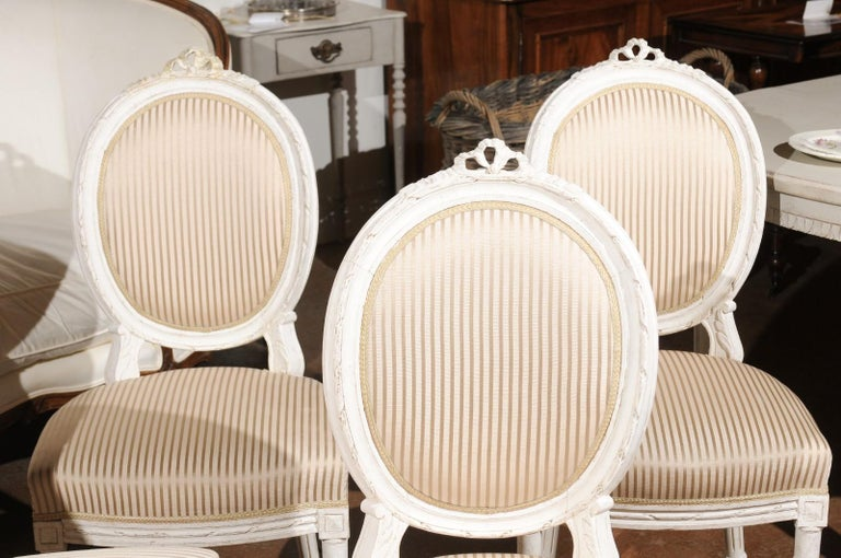 Upholstery Set of Eight Swedish Gustavian Style 19th Century Dining Chairs with Oval Backs