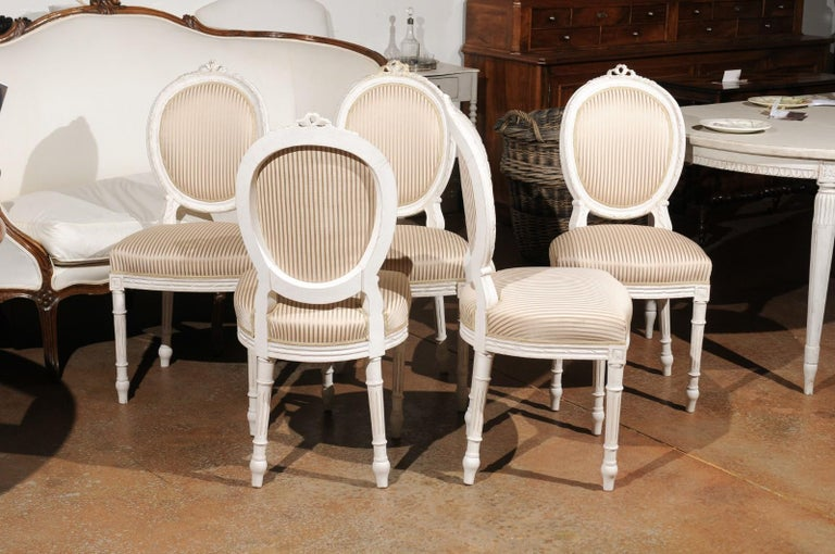 Set of Eight Swedish Gustavian Style 19th Century Dining Chairs with Oval Backs 1