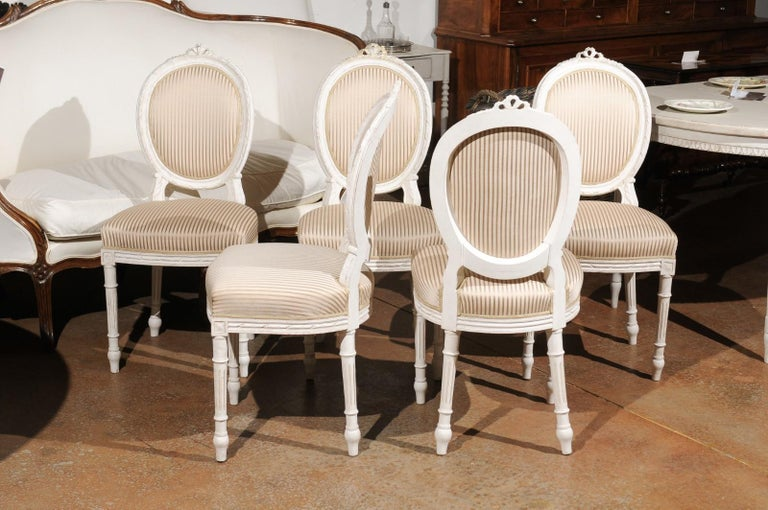 Set of Eight Swedish Gustavian Style 19th Century Dining Chairs with Oval Backs 2