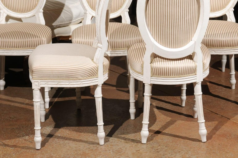 Set of Eight Swedish Gustavian Style 19th Century Dining Chairs with Oval Backs 3