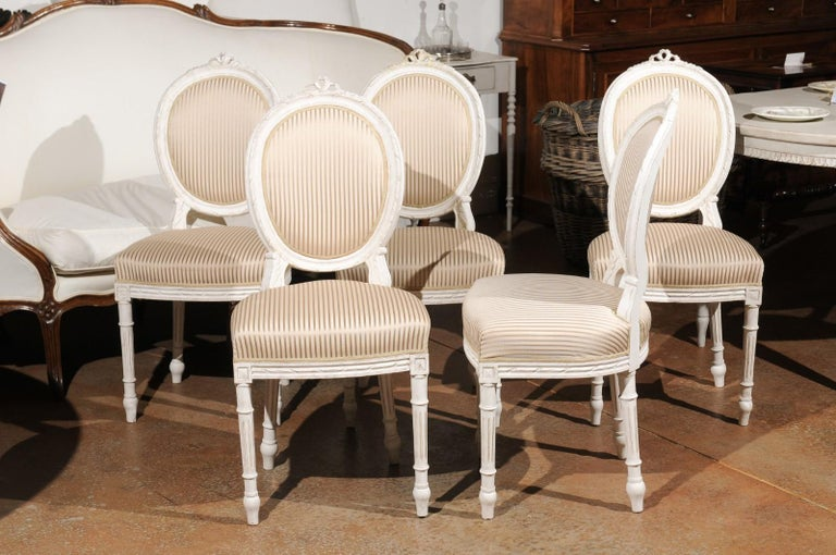 Set of Eight Swedish Gustavian Style 19th Century Dining Chairs with Oval Backs 4