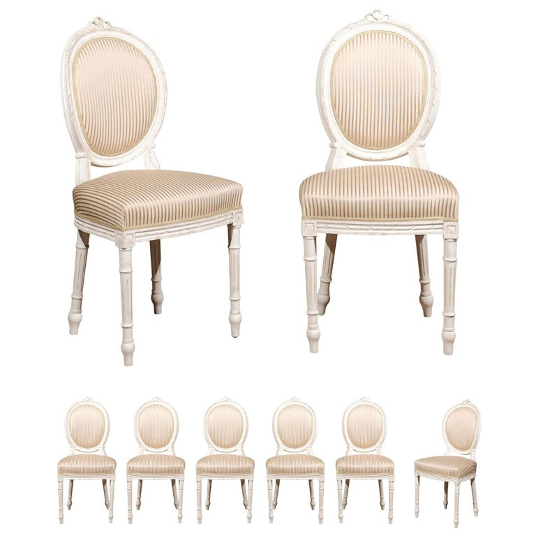 Set of Eight Swedish Gustavian Style 19th Century Dining Chairs with Oval Backs