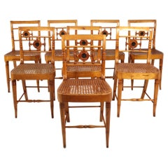 Set of Eight Swedish Lindome Dining Chairs 19th Century