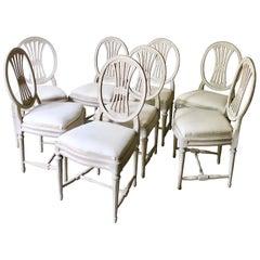 Set of Eight Swedish Painted Weatsheaf Dining Chairs