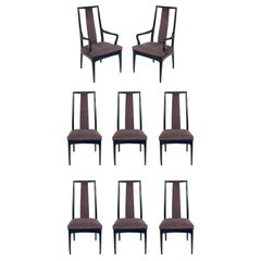 Set of Eight Tall Back Asian Inspired Dining Chairs