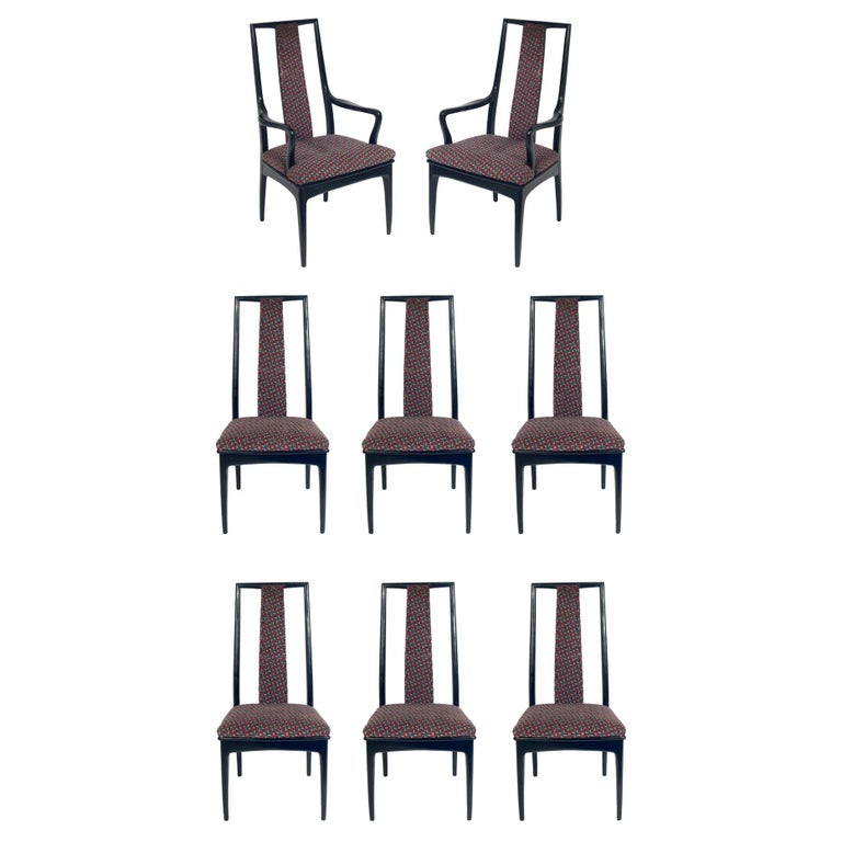 Set Of Eight Tall Back Asian Inspired, Asian Inspired Dining Chairs