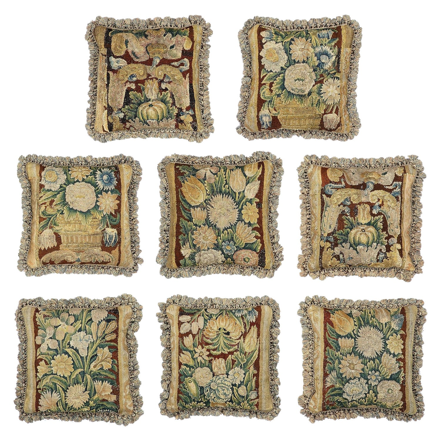 Set of Eight Tapestry Pillows Cushions Mid-17th Century Flemish Baroque Verdure