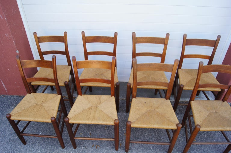 Mid-Century Modern Set of Eight Teak and Rush Dining Chairs by Charles Webb For Sale