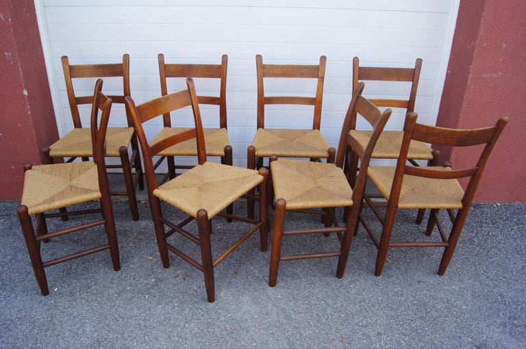 American Set of Eight Teak and Rush Dining Chairs by Charles Webb For Sale