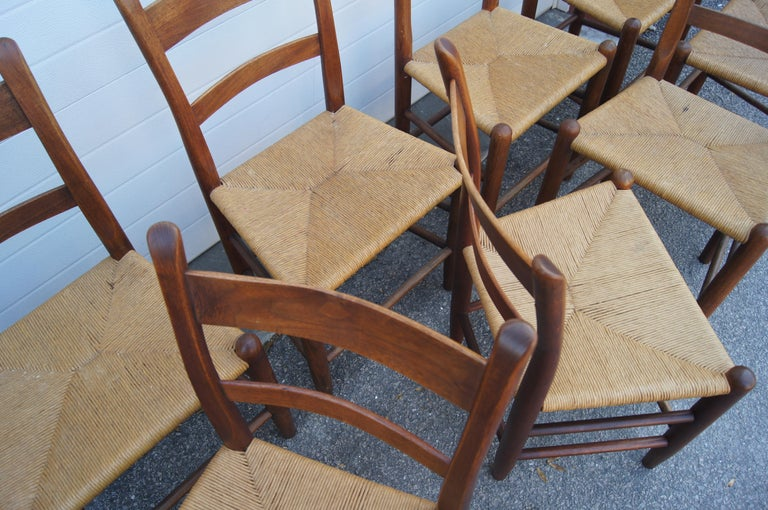 Set of Eight Teak and Rush Dining Chairs by Charles Webb In Good Condition For Sale In Boston, MA