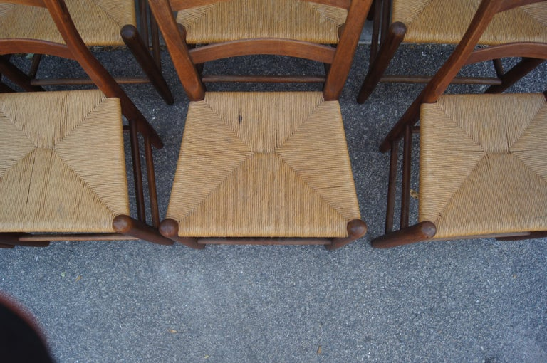 Late 20th Century Set of Eight Teak and Rush Dining Chairs by Charles Webb For Sale