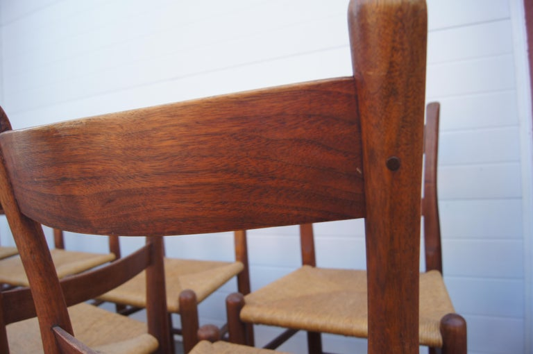 Set of Eight Teak and Rush Dining Chairs by Charles Webb For Sale 1