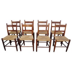 Set of Eight Teak and Rush Dining Chairs by Charles Webb