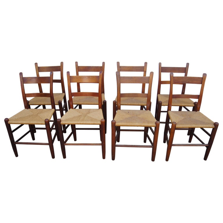 Set of Eight Teak and Rush Dining Chairs by Charles Webb For Sale