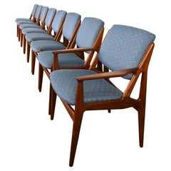Set of Eight Teak Arne Vodder Dining Chairs, 1960s