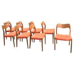 Set of Eight Teak Dining Chairs, Model 71, Designed by Niels O. Møller, Denmark
