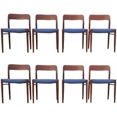 Set of Eight Teak Niels Moller 75 Dining Chairs