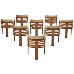 Set of Eight Three-Legged Dining Chairs in Off-White Leather