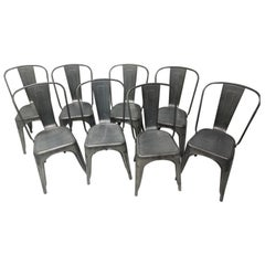 "Set of Eight Tolix Steel Stacking ""A"" Chairs Indoor Outdoor Cafe Chairs"