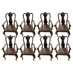 Set of Eight Traditional Dining Chairs from Spain, Mahogany