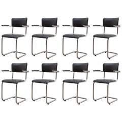 Set of EIGHT Tubax Cantilever Armchairs, Belgium