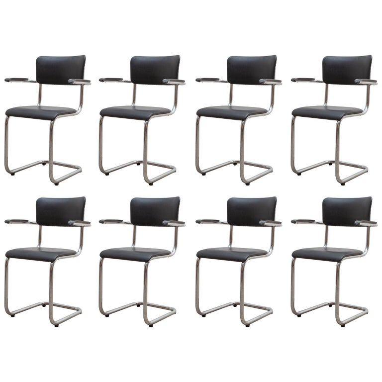 Set of Seven Tubax Cantilever Armchairs, Belgium For Sale