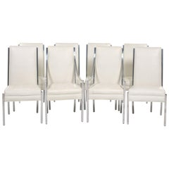 Set of Eight Tufted Faux Ostrich Covered Dining Chairs with Chrome Frames