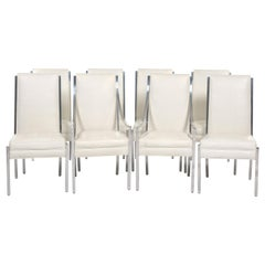 Set of Eight Tufted Faux Ostrich Dining Chairs with Chrome Frames