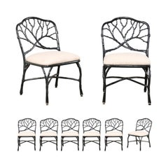 Set of Eight Twig and Branch Motif Vintage American Patio Dining Chairs