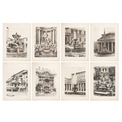 Set of Eight Unframed Architectural Prints, Italy Early 1900s