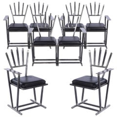 Set of Eight Unique Steel Armchairs by Gary Kulak