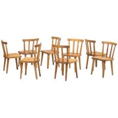"""Set of Eight """"Uto"""" Chairs by Axel Einar Hjorth, Nordiska Kompaniet, Sweden, 1930"""