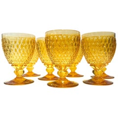 Set of Eight Villeroy & Boch Crystal Water Goblets in Amber Yellow, circa 2000