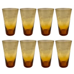 Set of Eight Vintage Amber Tumblers