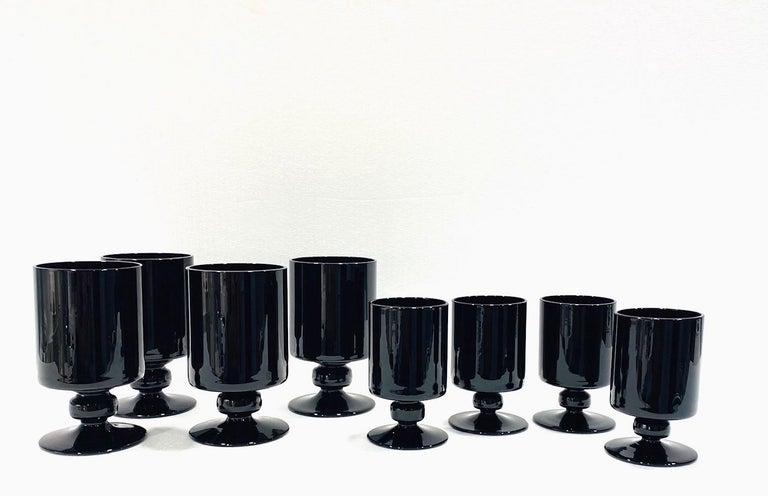 Hollywood Regency Set of Eight Vintage Black Crystal Wine and Stemware Glasses, circa 1980s For Sale
