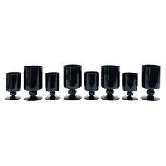 Set of Eight Vintage Black Crystal Wine and Stemware Glasses, circa 1980s