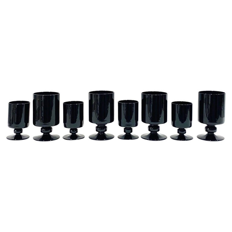 Set of Eight Vintage Black Crystal Wine and Stemware Glasses, circa 1980s For Sale