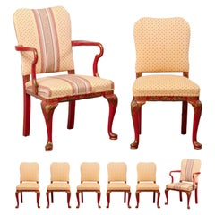 Set of Eight Vintage Dining Chairs with Han Painted Chinoiserie in Red and Gold