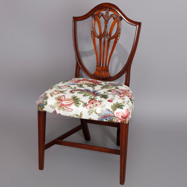Set of Eight Vintage English Mahogany Shield Back Dining Chairs, circa 1930 For Sale 4