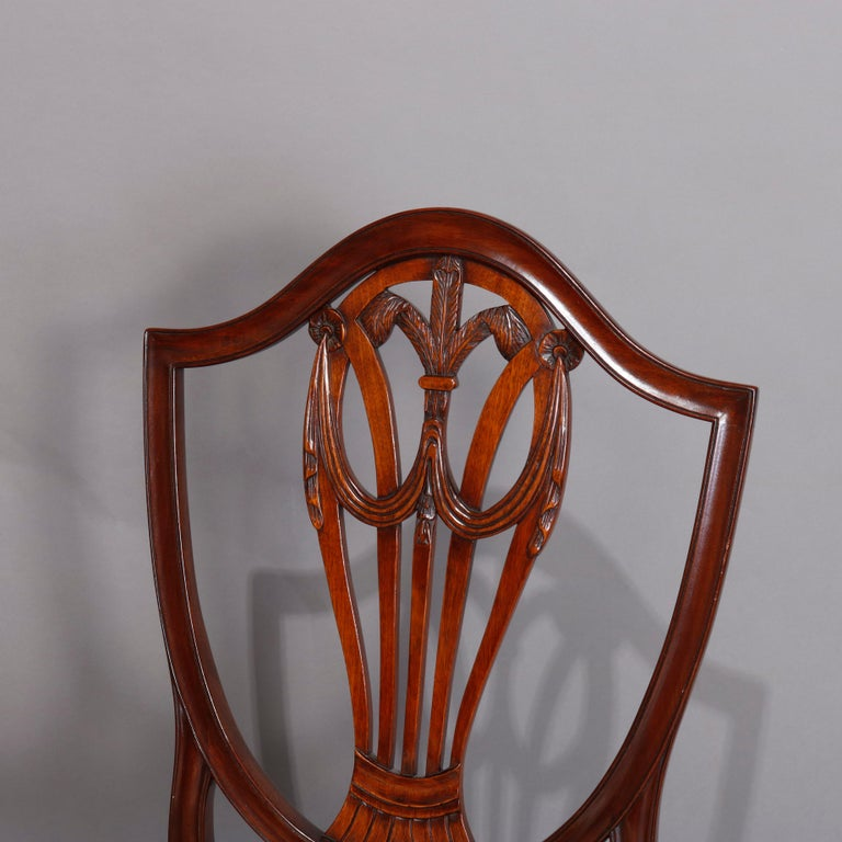Set of Eight Vintage English Mahogany Shield Back Dining Chairs, circa 1930 For Sale 5