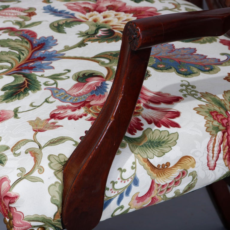 Set of Eight Vintage English Mahogany Shield Back Dining Chairs, circa 1930 For Sale 6