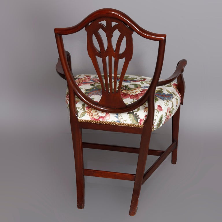 Set of Eight Vintage English Mahogany Shield Back Dining Chairs, circa 1930 In Good Condition For Sale In Big Flats, NY